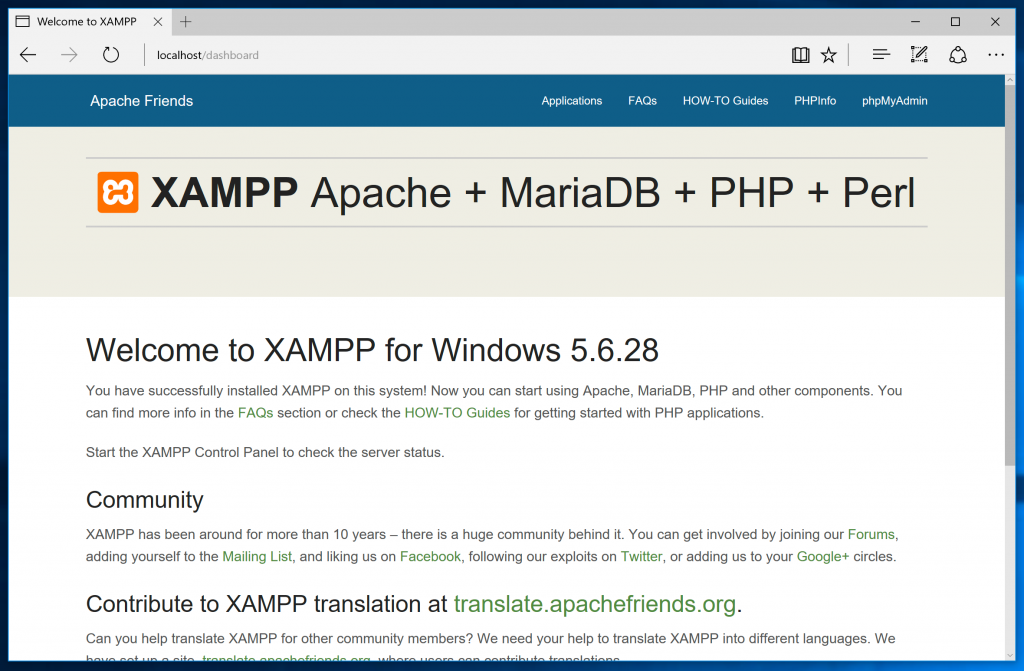XAMPP localhost karşılama ekranı