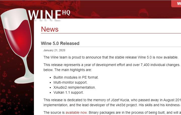 WineHQ duyurdu: Wine 5.0 – Stable yayınlandı!