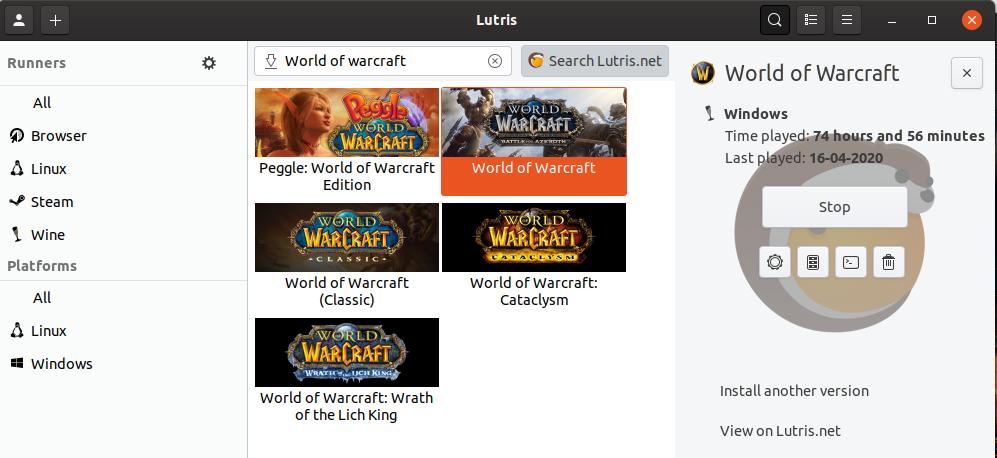 Lutris programında world of warcraft araması yapılmış bir ekran görüntüsü