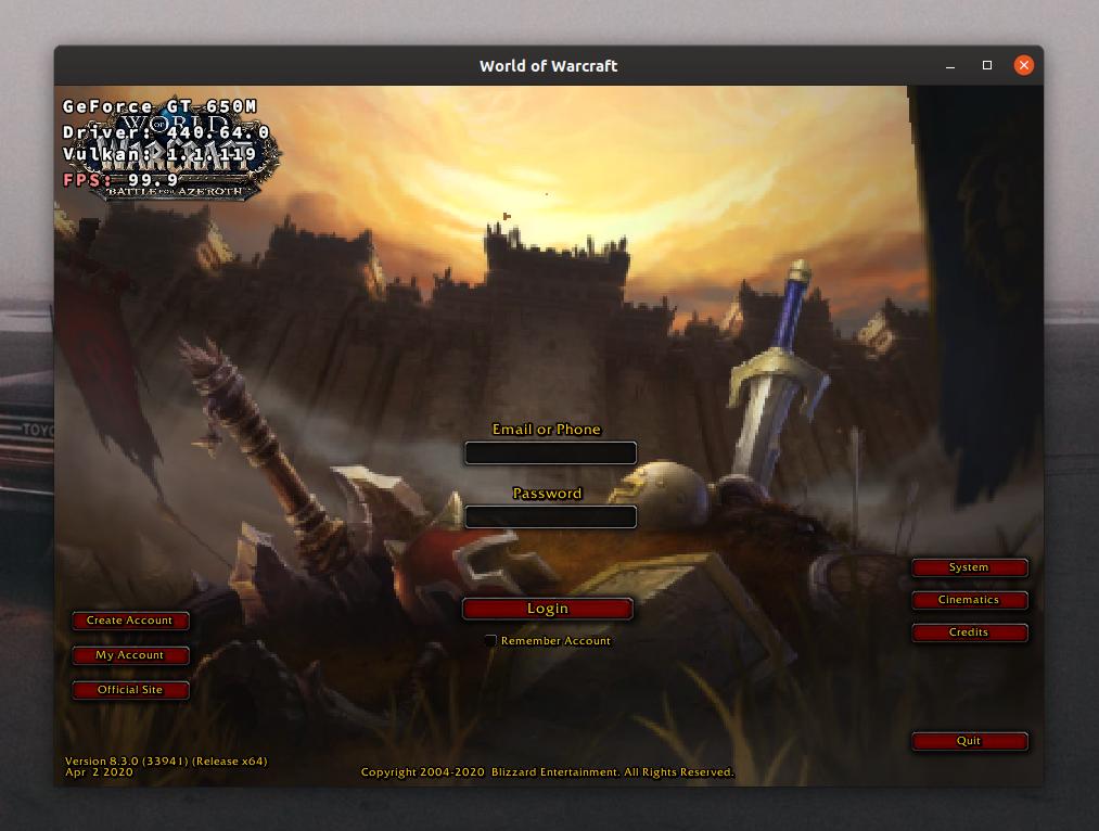 Ubuntu Linux'da World of Warcraft oyunundan bir ekran görüntüsü